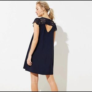 LOFT Lace Cap Sleeve Swing Dress Navy PM M